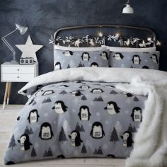 Catherine Lansfield Cosy Penguin Fleece Duvet Cover Set - Grey