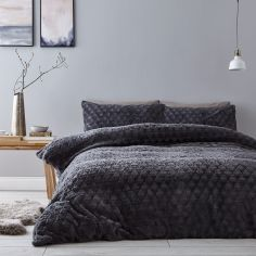 Catherine Lansfield Soft Touch Diamond Fur Duvet Cover Set - Grey