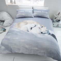 Catherine Lansfield Brushed Cotton Polar Bear Duvet Cover Set - White