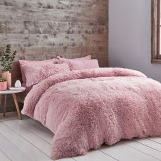 Catherine Lansfield Cuddly Fluffy Duvet Cover Set - Blush Pink