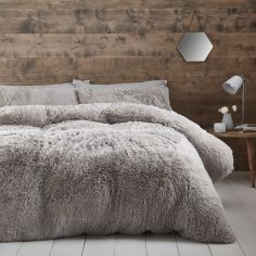 Catherine Lansfield Cuddly Fluffy Duvet Cover Set - Silver Grey