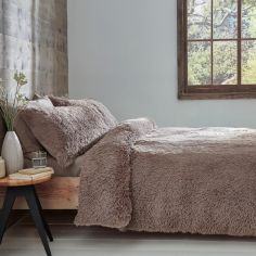 Catherine Lansfield Cuddly Fluffy Duvet Cover Set - Natural