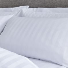 Catherine Lansfield 300TC Satin Stripe Weave Standard Pillowcase Pair - White