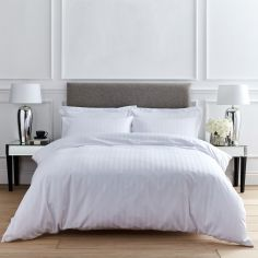 Catherine Lansfield So Soft Stripe Duvet Cover Set - White