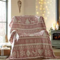 Scandi Christmas Supersoft Blanket Fleece Throw - Blush Pink