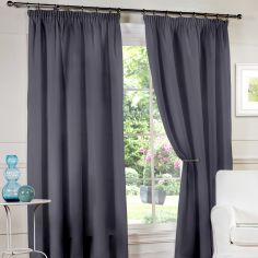 Luxury Lined Voile Tape Top Curtains - Grey