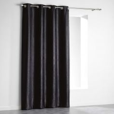 Paleo Embossed Blackout Eyelet Single Curtain Panel - Black