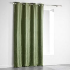 Paleo Embossed Blackout Eyelet Single Curtain Panel - Khaki Green