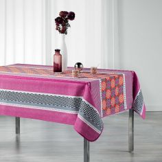 Amarella Geometric Printed Polyester Tablecloth - Coral & Purple