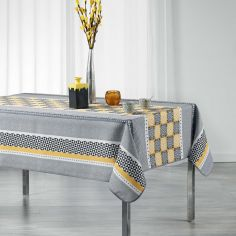 Amarella Geometric Printed Polyester Tablecloth - Grey & Yellow