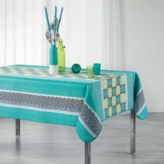 Amarella Geometric Printed Polyester Tablecloth - Green & Blue