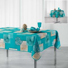 Arborela Leaf Printed Polyester Tablecloth - Blue