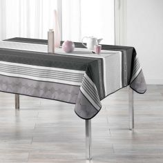 Atrium Striped Polyester Tablecloth - Charcoal Grey