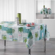 Bahia Tropical Leaf Tablecloth - Green & Blue