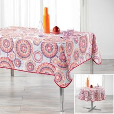 Cadix Polyester Tablecloth with Printed Circles - Multi