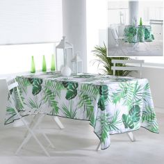 Canopee Tropical Leaf Photoprinted Tablecloth - Green & White