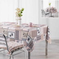 Carlota Geometric Printed Tablecloth - Grey & Blush