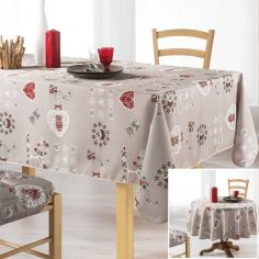 Chouetti Tablecloth with Printed Owls - Linen