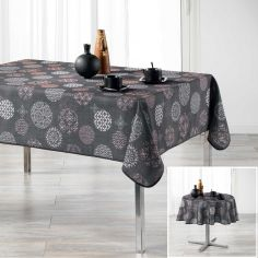 Divina Tablecloth with Printed Circles - Charcoal Grey