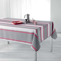 Feliz Striped Tablecloth - Grey & Coral