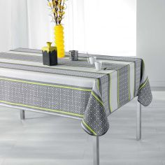 Feliz Striped Tablecloth - Grey & Yellow