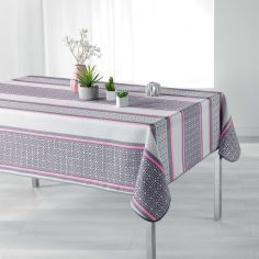 Feliz Striped Tablecloth - Grey & Pink