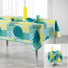 Flamenco Tablecloth with Printed Mandala - Blue & Yellow