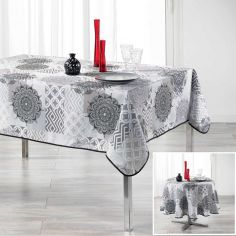 Flamenco Tablecloth with Printed Mandala - Grey