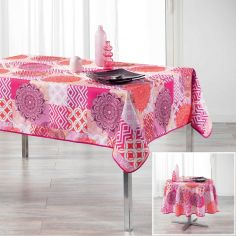 Flamenco Tablecloth with Printed Mandala - Pink