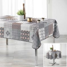 Kario Tablecloth with Geometric Print - Grey & Brown