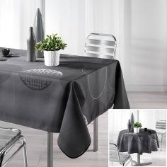 Kosmo Tablecloth with Printed Circles - Charcoal Grey