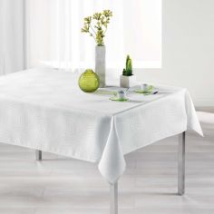 Ondelina Jacquard Tablecloth - White