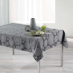 Luxury Rose Des Vents Jacquard Tablecloth - Charcoal Grey