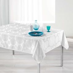 Luxury Rose Des Vents Jacquard Tablecloth - White
