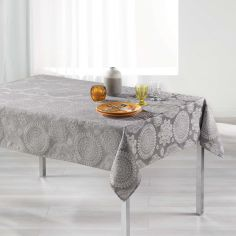 Luxury Rose Des Vents Jacquard Tablecloth - Grey