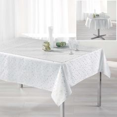 Safina Faux Silk Tablecloth - White & Gold