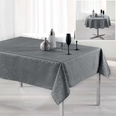 Safina Faux Silk Tablecloth - Grey & Silver