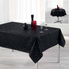 Safina Faux Silk Tablecloth - Black & Gold