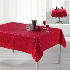 Safina Faux Silk Tablecloth - Red & Silver