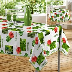 Salvador Photoprinted PVC Tablecloth - White & Green