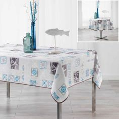 St Malo Nautical Tablecloth - Blue & Grey
