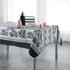 Yantra Tablecloth with Leaf Pattern - Black & White