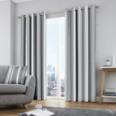 Whitworth Stripe Fully Lined Eyelet Curtains - Grey