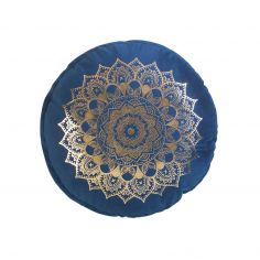 Nebulis Gold Printed Velvet Round Cushion - Blue