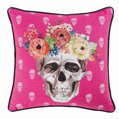 Frida Floral Skull 100% Cotton Cushion with Piping - Pink