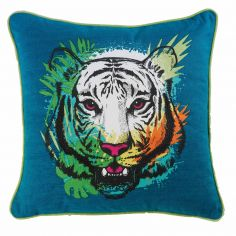Issara Tiger 100% Cotton Cushion with Piping - Blue