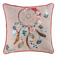 Nakota Dream Catcher 100% Cotton Cushion with Piping - Natural