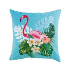 Exotic Life Flamingo 100% Cotton Cushion - Blue & Pink