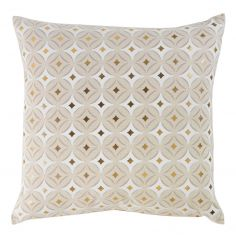 Oleanne 100% Cotton Gold Printed Cushion - Natural