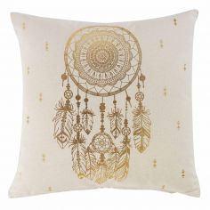 Tresor 100% Cotton Gold Printed Cushion - Natural